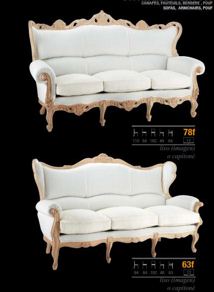 Sofá estilo clasico de haya con capitoné