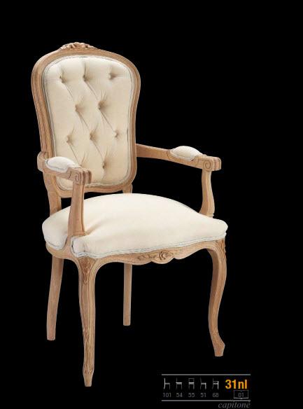 sillón estilo clasico de haya con capitoné